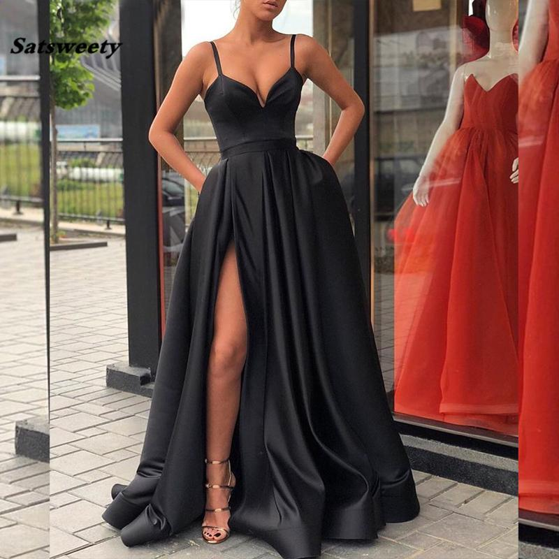 c518ccb02e60a 2019 Black Prom Dresses With Pockets Side Slit Strapless Satin Elegant Long  Evening Party Gowns Wine Red Women Formal Dress Y19042701