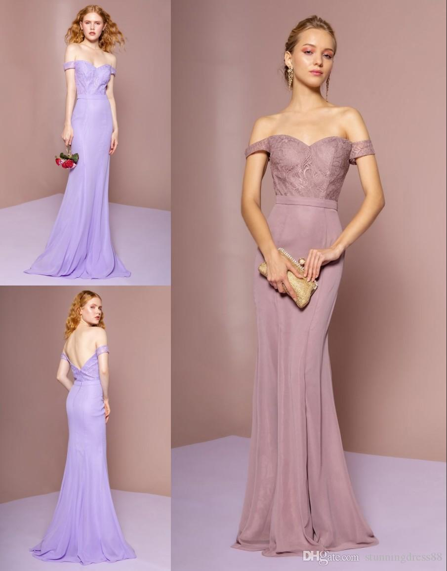 1d359952018 2019 Dusty Rose Light Purple Cheap Mermaid Bridesmaid Dresses Off The Shoulder  Lace Top Satin Skirt Long Wedding Guest Party Prom Dress Teal Bridesmaids  ...