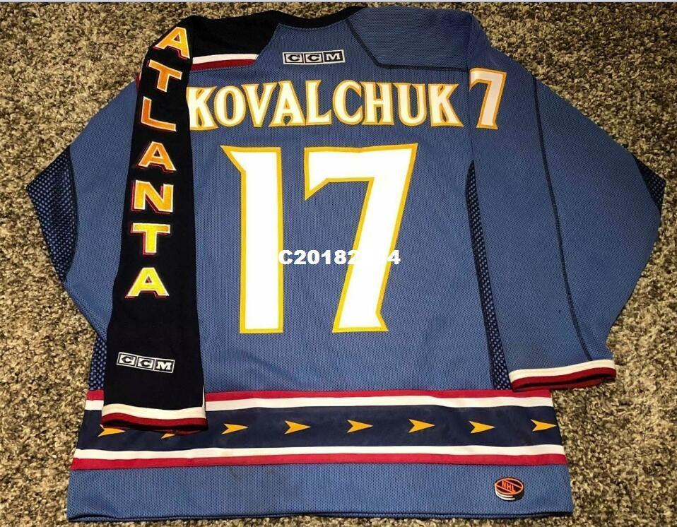 246a1d7f2 Real Men Real Full Embroidery  17 ILYA KOVALCHUK Atlanta Thrashers WHTE  Blue Vintage Hockey Jersey Or Custom Any Name Or Number Jersey ILYA  KOVALCHUK Online ...