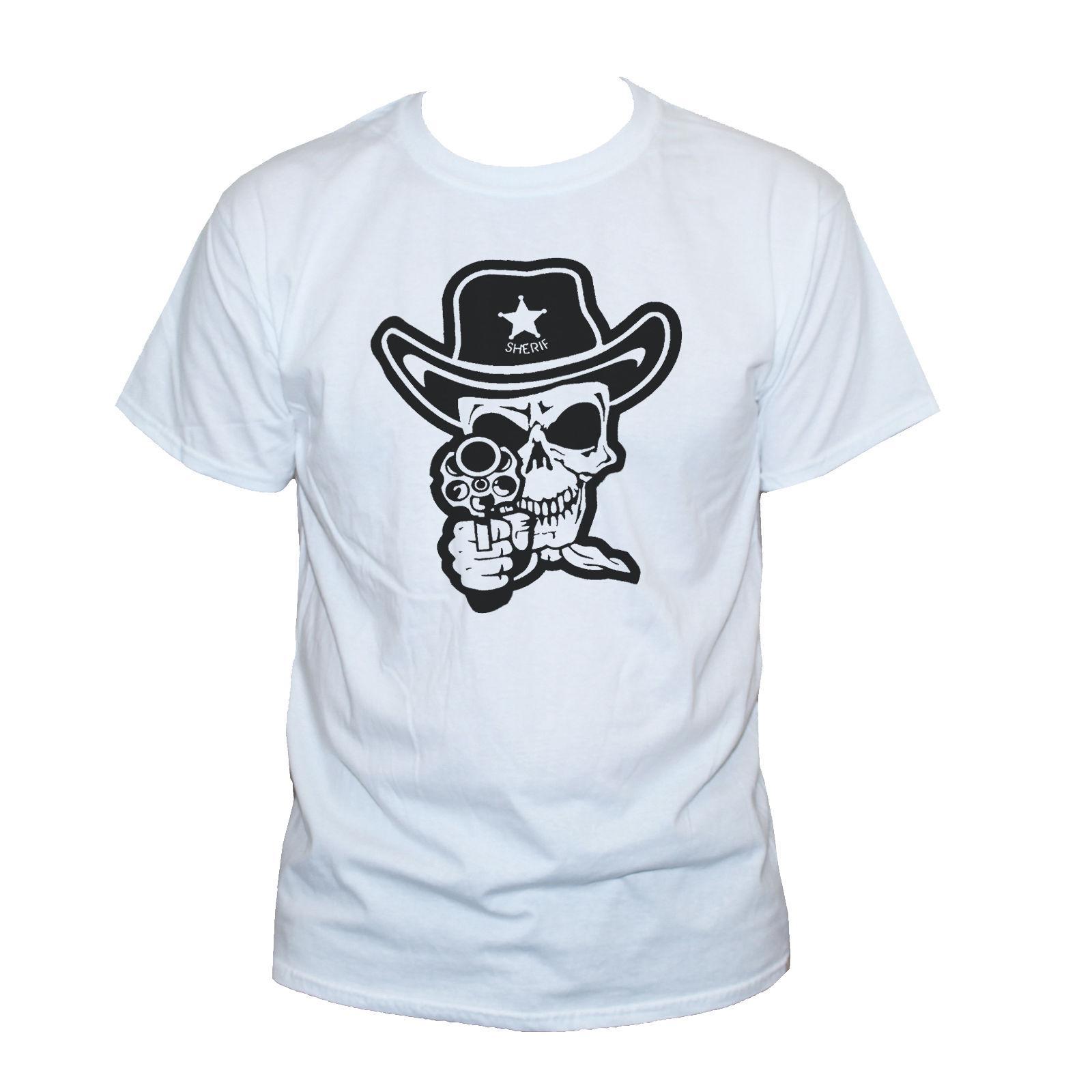 5c19e9141abe5 Sheriff Skull With Gun T-Shirt Rockabilly Punk Goth Graphic Retro Tee  UnisexFunny free shipping Unisex Casual Tshirt
