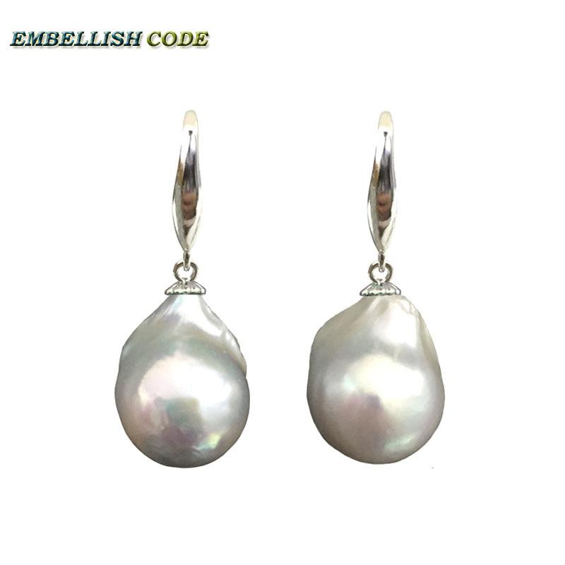 77d410c0f42cb Special Baroque Pearl Earrings Simple Classic Stely Hook Dangle Fire Ball  Shape White Color Natural Pearls 925 Sterling Silver Y19052401