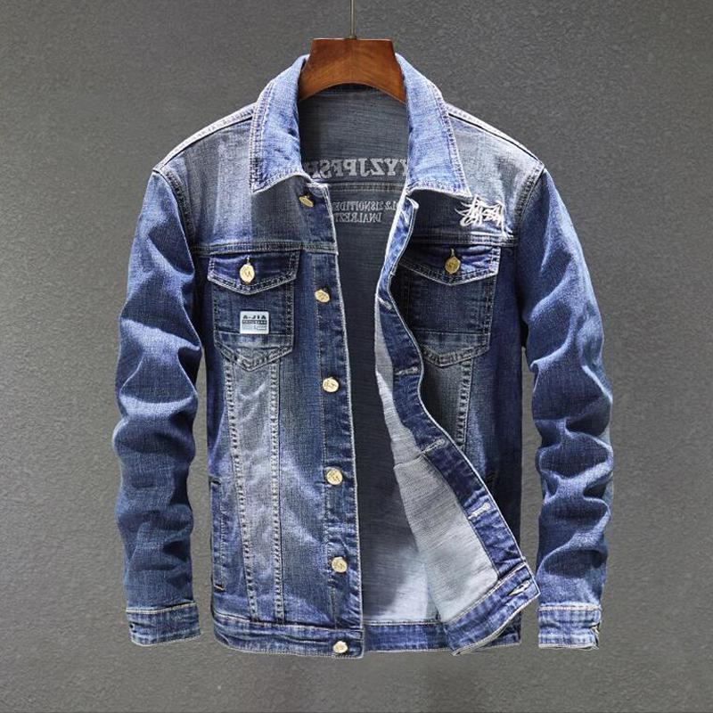 Men Clothes 2019 Spring Mens Denim Jacket Fashion Men Jacket Coat Denim  Cotton Jean Outwear Male Cowboy Plus Size 5XL Mens Leather Coats Carhart  Jackets ... 40d8946216c0