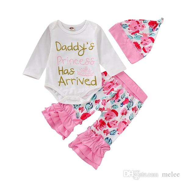 d3cb380acdd 2019 Girl Outfit Baby Long Sleeve Romper + Ruffle Leggings + Flower Print  Cap Set Spring Autumn Clothing From Melee