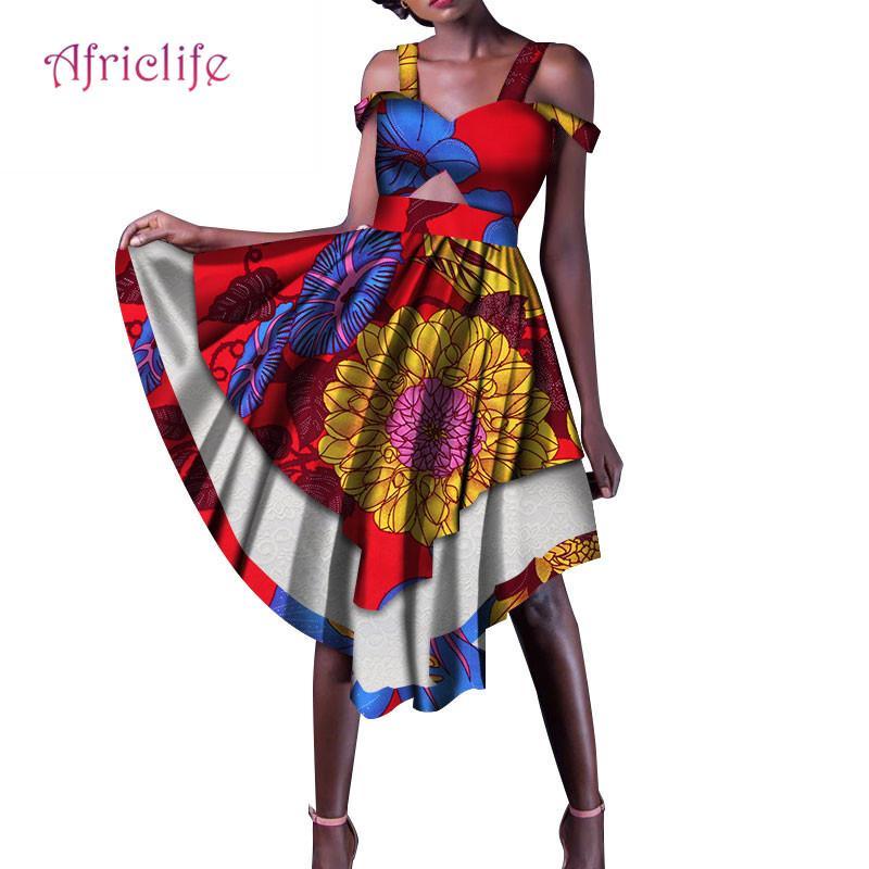 wholesale dealer 2b8e2 5f038 2019 Moda abiti africani stampa per donne Dashiki vestiti africani Africa  donne Sling al ginocchio abiti belli vestito WY134
