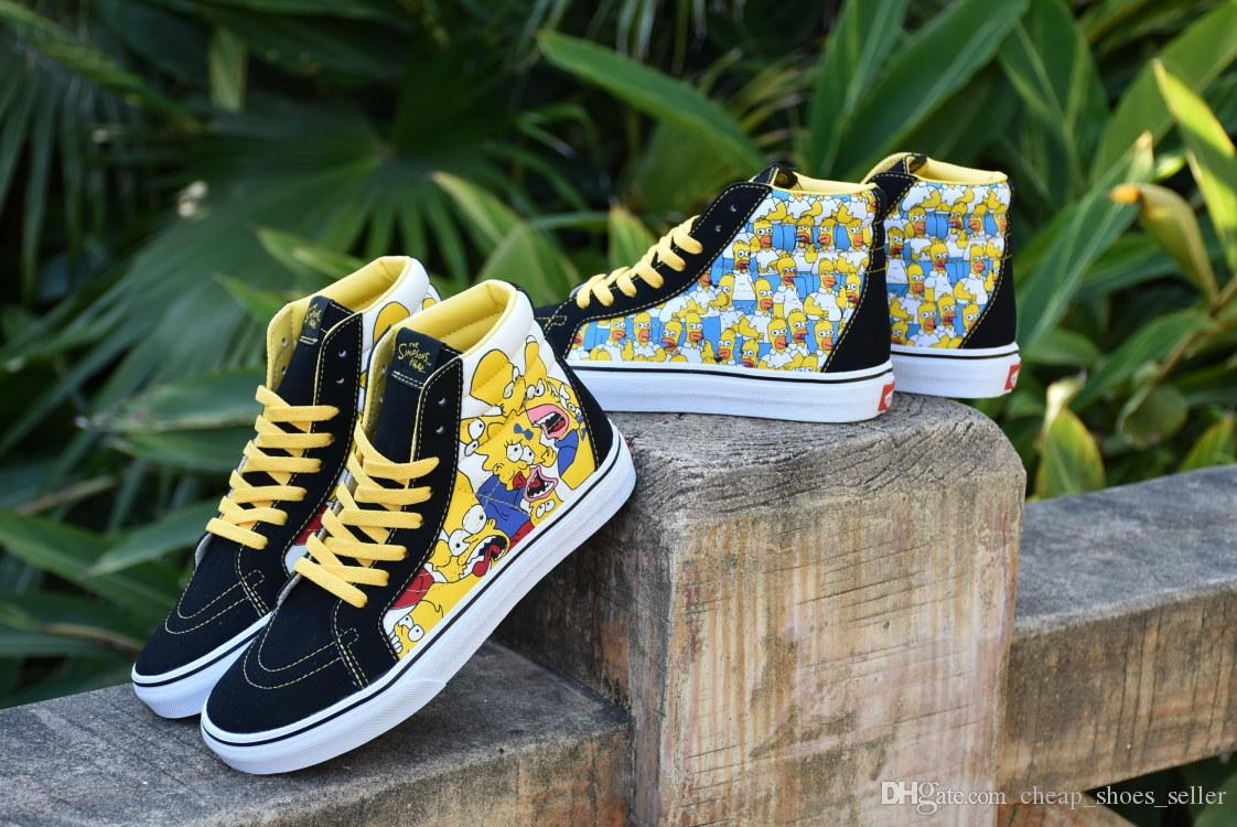 2019 VANS Old Skool Cartoon Comic Simpson Men Women Skateboard Shoes Half  Cab Sports Skate Women Canvas Designer Shoe Brand Sneaker 36 44 UK 2019  From ... f2e2f936e0