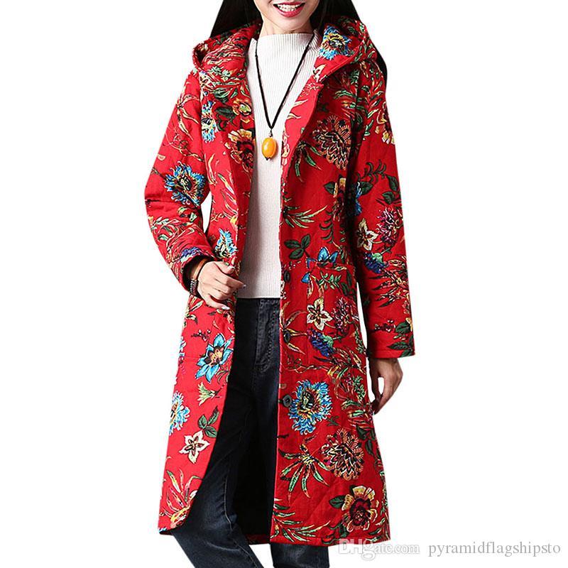 Kapuze Taschen Blumendruck Herbst Multicolor Oberbekleidung Steppjacke Einreiher Frauen Hals Winterjacke Mit Mäntel E2IWHD9Y