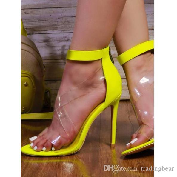 Plus size 35 to 40 41 42 fluor green transparent PVC stiletto high heels shoes women designer dress shoes