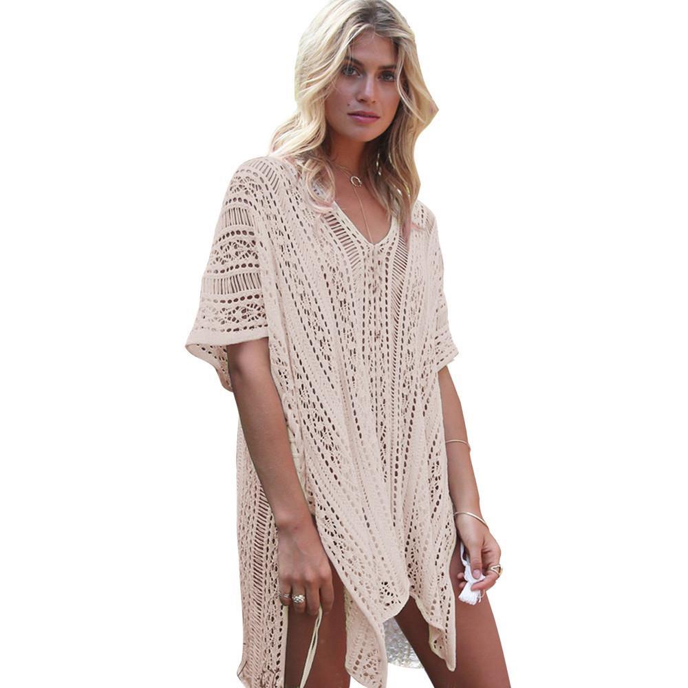 5131111dda Compre Vestido De Playa De Verano Para Mujeres Damas Sólido Hollow Out  Vestido De Poliéster Vestido De Crochet En Diez Colores De Alta Calidad A   16.69 Del ...