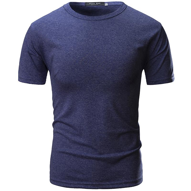 94adc09773 2019 Mens Short Sleeve O Neck Casual T Shirts Summer Solid Color Cotton  Slim Fit Men Tees Tops Basic Style Fitness Male T Shirt Shirts Tshirt From  Lusi03, ...