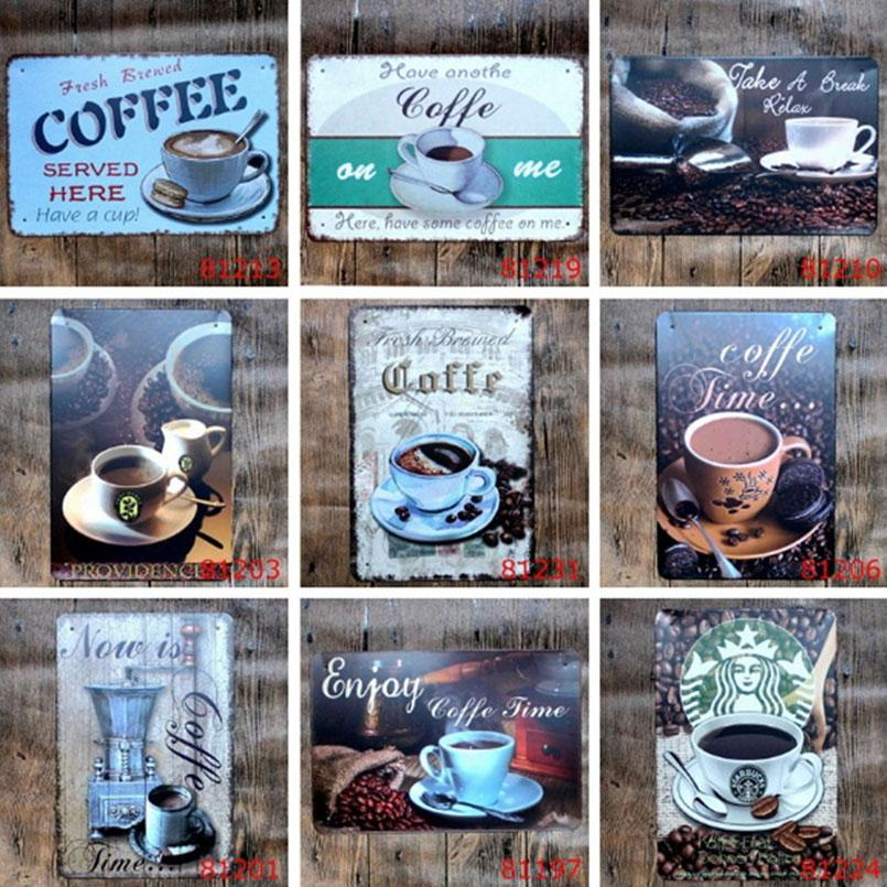 Eco-Friendly COFFEE Vintage Tin Signs Retro Metal Sign Antique Imitation Iron Plate Painting Decor The Wall Of Bar Cafe Pub Shop Paint