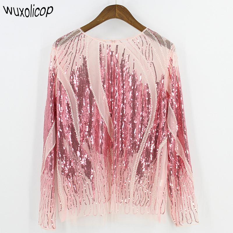 bc38a3e5f56f10 2019 2018 Women Shirt Summer Long Sleeve Embroidery Sequin Bead Sheer Lace  Mesh Blouse Camisas Mujer Sexy Body Top Blusa Feminina C19041201 From  Shen8407, ...