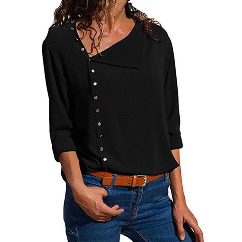 68b4e0baf19d Großhandel Büro Hemden Lose Beiläufige Femme Tasten Tops Herbst Sexy Blusa  Frauen Dreiviertel Skew Kragen Sommer OL Bluse Plus Größe GV470 Von  Feeling03, ...
