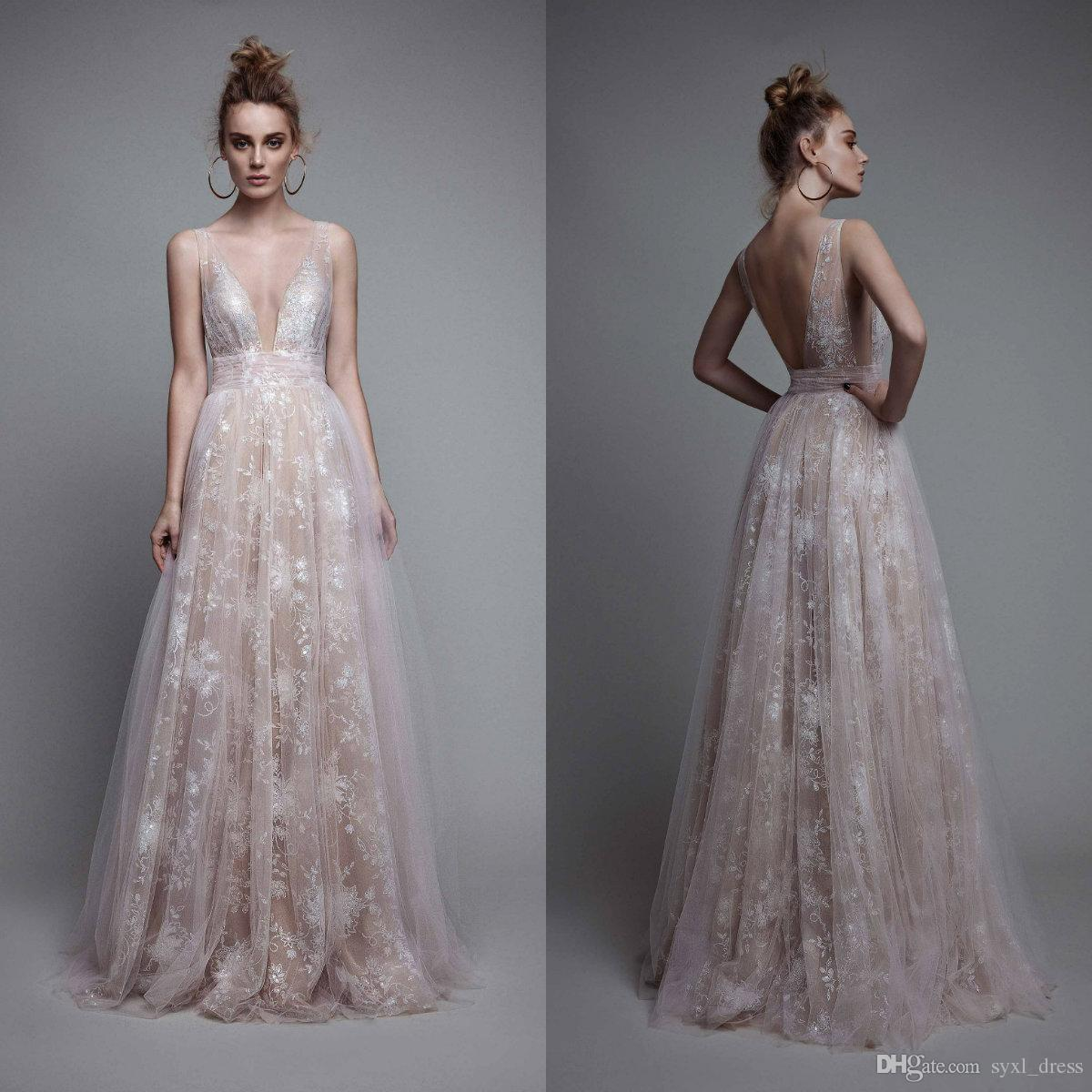 e60cfa7886173 Discount Berta Plus Size 2018 Beach Wedding Dresses Bridal Gowns Full Lace  Vestido De Novia Robes De Demoiselle D Honneur V Neck Backless Chiffon A  Line ...