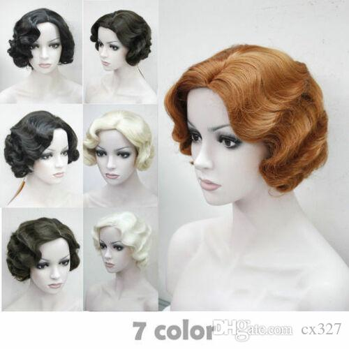 7 colors Women's ladies Short Finger Wave Ladies Daily Hair wigs+a wig cap