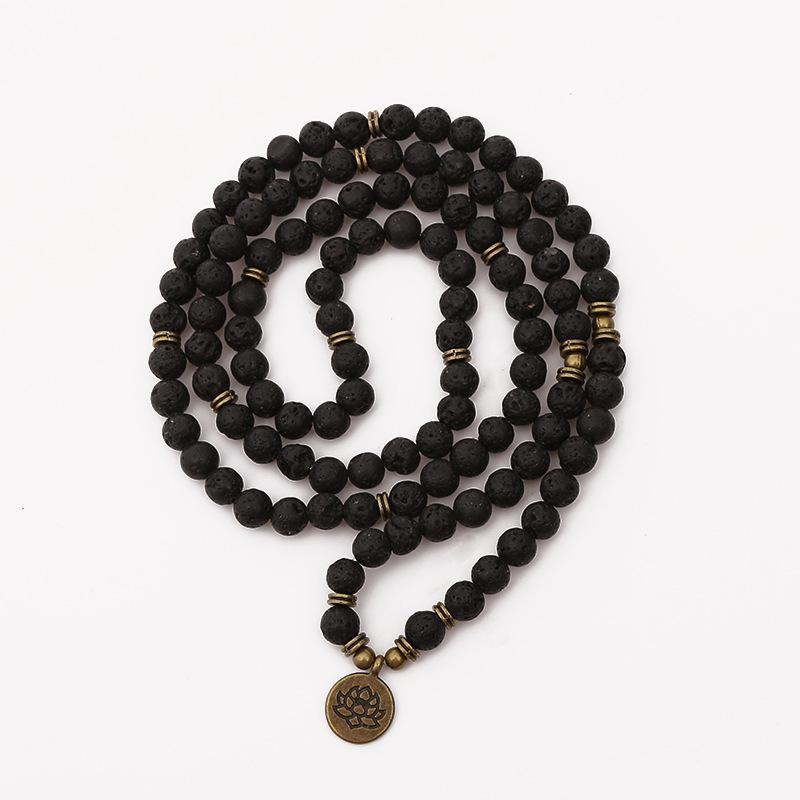 108 Beads Buddha Lotus Mala Bracelet for Women Men 8 mm Lava Rock Stone Strand Charm Bracelet or Necklace Fashion Jewelry