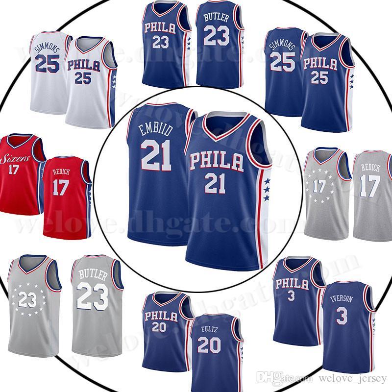 size 40 165ea 4bedb 76ers Joel 21 Embiid jersey 3 Iverson philadelphia Jersey Ben 25 Simmons  Jimmy 23 Butler 20 Fultz 17 Redick Philadelphia Basketball Jerseys