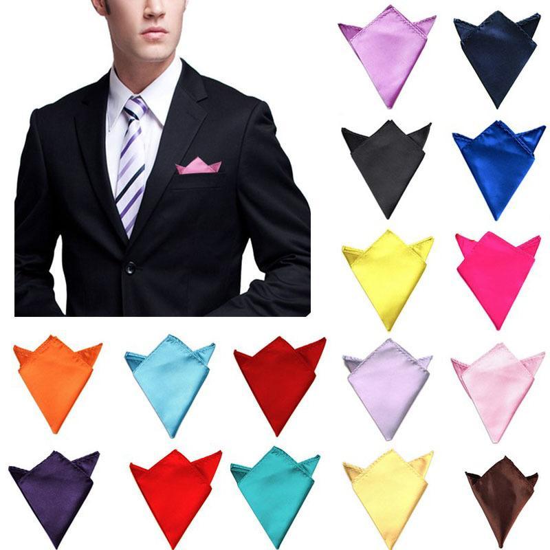 8761c440799c8 New 26 Colors Men's Hanky Satin Solid Plain Suits Pocket Square Wedding  Party Handkerchief C19041301