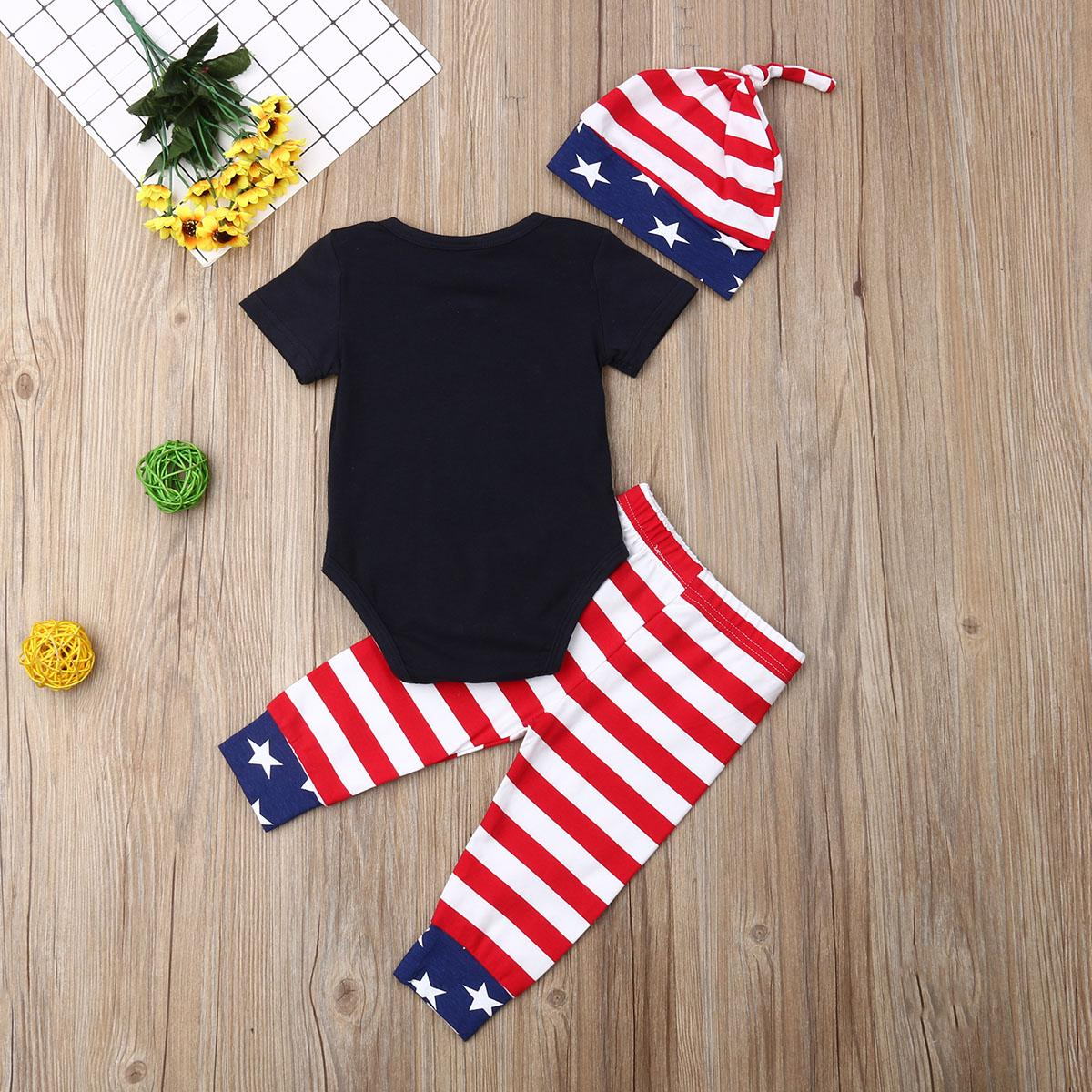 4 ° Neonato Bambino Bambini Ragazza Ragazzo Di Luglio a righe Stars Top + Pants Hat Outfits Set