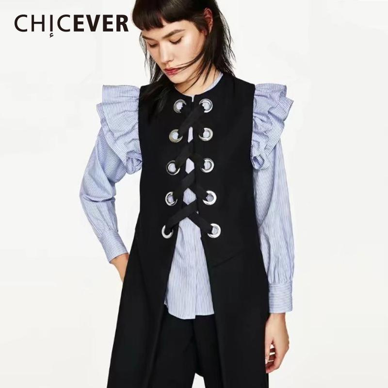 049e89a2b74 2019 CHICEVER Spring Black Women S Vest Sleeveless Long Coat Female 2018  Casual Women S Jacket Loose Big Size Vests Coats Clothes New From  Dartcloth