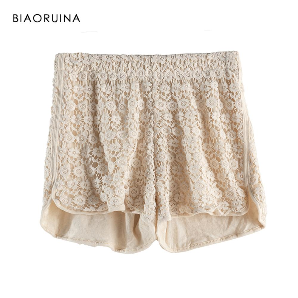 2019 Biaoruina Women Lace Crochet Fashion Short With Lining Female