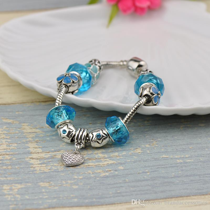 Translucent Glass Beads Fit Pandora Charm Bracelets Bangles Heart Pendant Turquoise Crystal Beaded Women Brand Silver Alloy Jewelry P48