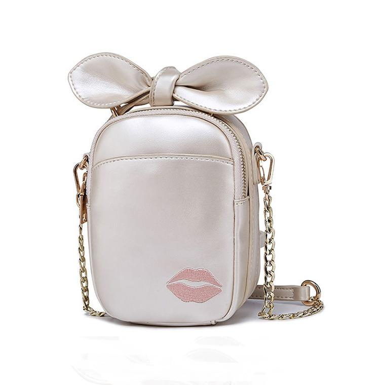 Lucky2019 Small Summer Bag Woman Chain Girl Embroidery Lip Print Single Shoulder Messenger Mini- Mobile Phone Package