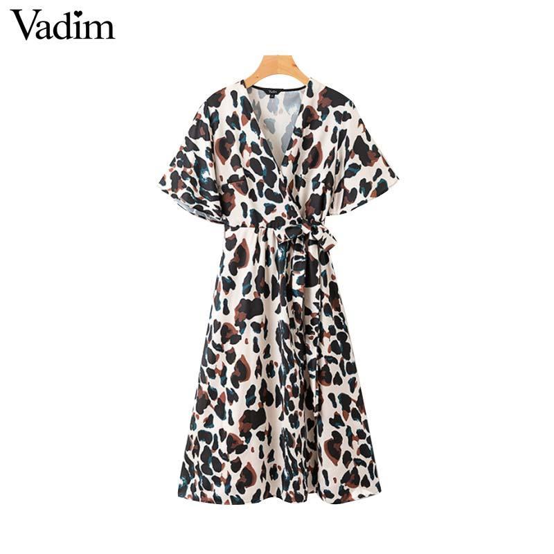d034a005fad89 Vadim women V neck zebra print midi dress animal pattern bow tie sashes  flare sleeve female retro mid calf dresses vestido