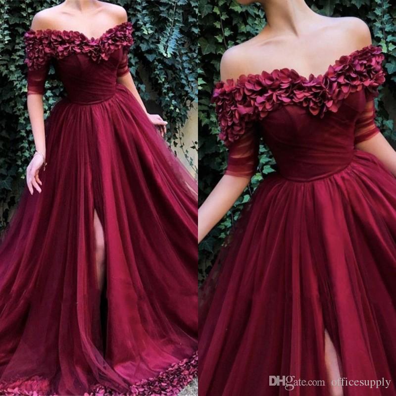 202ffd090c1 Fabulous Burgundy Elegant Flowers Evening Gowns 2019 A Line Off Shoulder  Front Split Tulle Half Sleeves Prom Dresses Buy Evening Dresses Online  Champagne ...