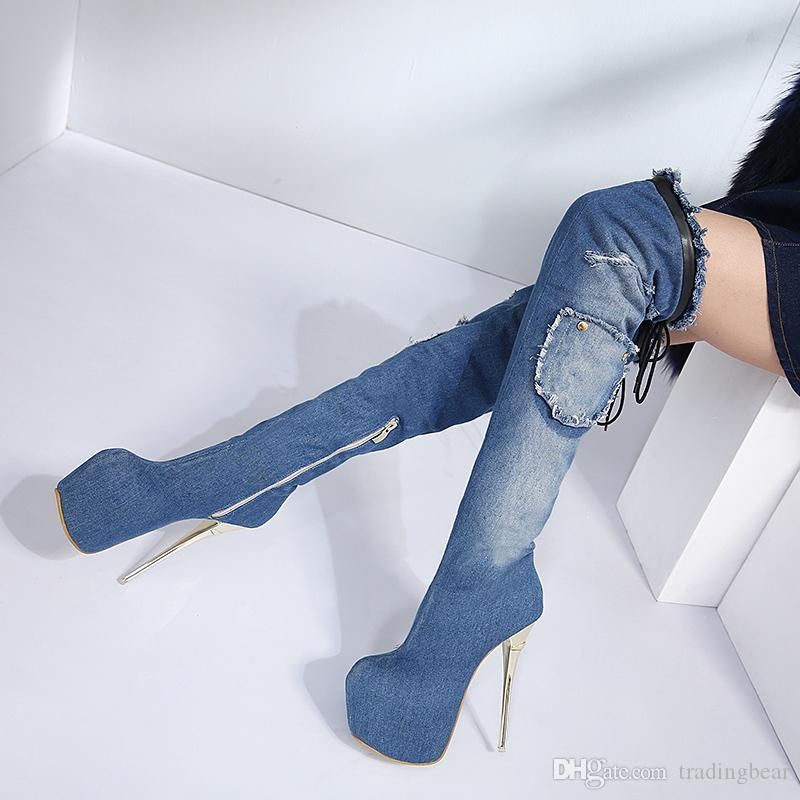 Sexy Women Denim Blue Thin High Heel Over The Knee Thigh High Boots Winter Party Nightclub Wear Size 34 To 40