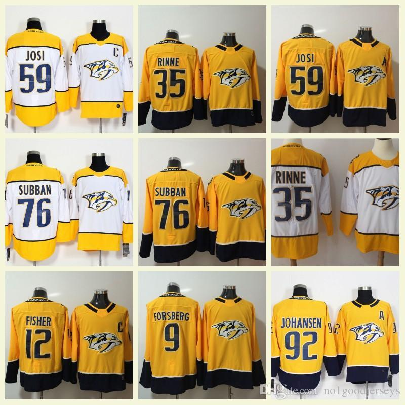 42792bbb4 2019 Nashville Predators Men S Ice Hockey Jerseys 9 Filip Forsberg 12 Mike Fisher  76 PK Subban 59 Roman Josi 35 Pekka Rinne 92 Ryan Johansen From Bellinger