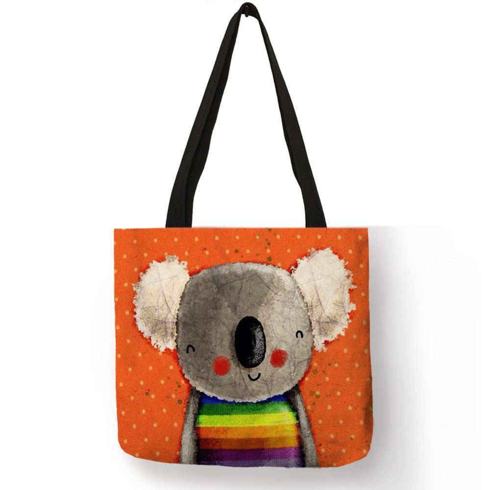 Dessin Animé Motif Animal Réutilisable Sac De Pliage Koala Ours Imprimer Tote Bag Femmes Tissu Sacs À Main Sacs De Voyage Sacs Dropship