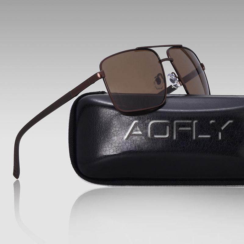 3d2d73ce2 AOFLY DESIGN Original Brand Men Polarized Sunglasses Metal Square ...