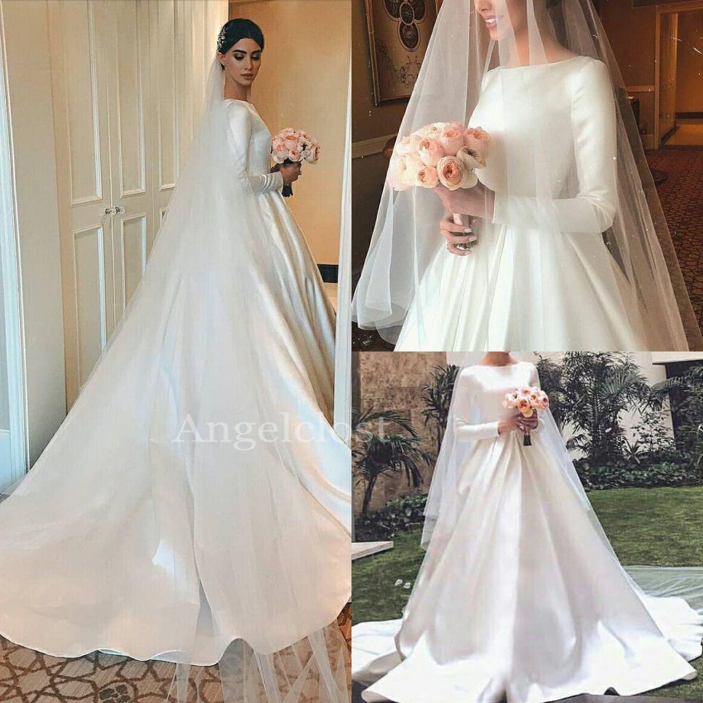 05e4ac71886 Discount Simple Satin A Line Wedding Dresses 2019 Bateau Boat Neck Lace Up  Back Long Sleeve Sweep Train Modest Bridal Gowns Plus Size Tea Length  Wedding ...