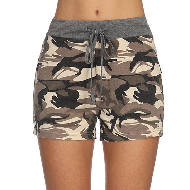 b88f2dc846 Compre Pantalones Cortos De Camuflaje Para Mujer Del Verano Femenino Verde  Del Ejército Pantalones Cortos De Camuflaje De Cintura Alta Ocasional Corto  Para ...