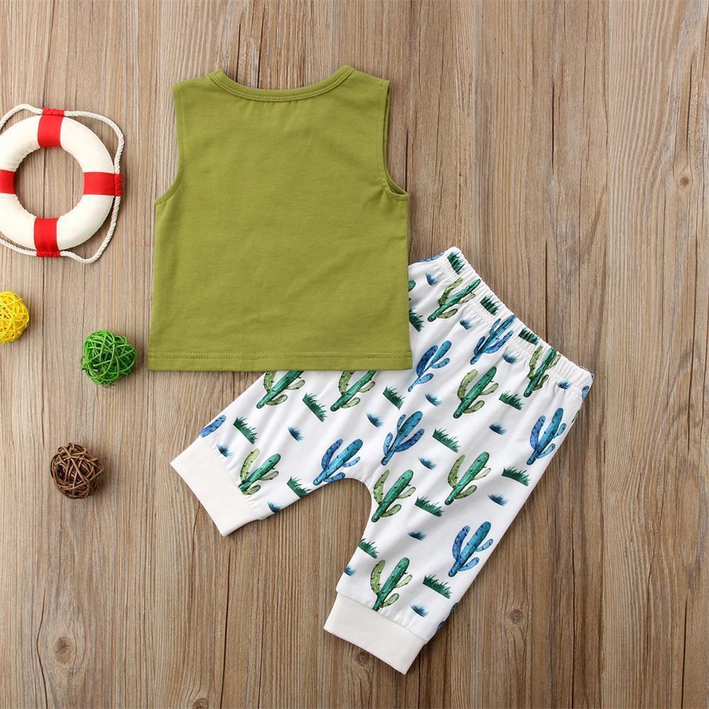 Pudcoco Yaz Yenidoğan Bebek Çocuk Bebek Çocuk Erkek Bebek Kolsuz Tişört Tankı + Pantolon Kıyafetler Giyim Seti Tops