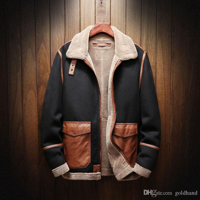 d7945cc4 2019 Casual Men's Jackets Suede Fabric Coats LaLambswool Tops For Men Lapel  Neck Jacket Fall And Winter Warm Outerwear Large Size