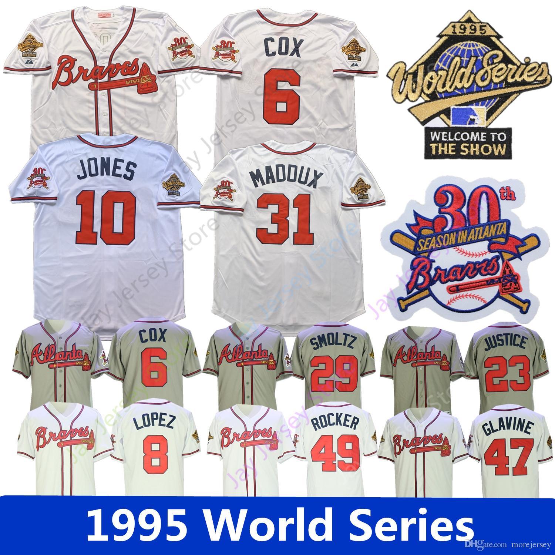buy popular 00781 00f8b Atlanta Maddux Jersey 1995 World Series Braves Bobby Cox Lopez Chipper  Jones David Justice John Smoltz Tom Glavine Rocker White Grey