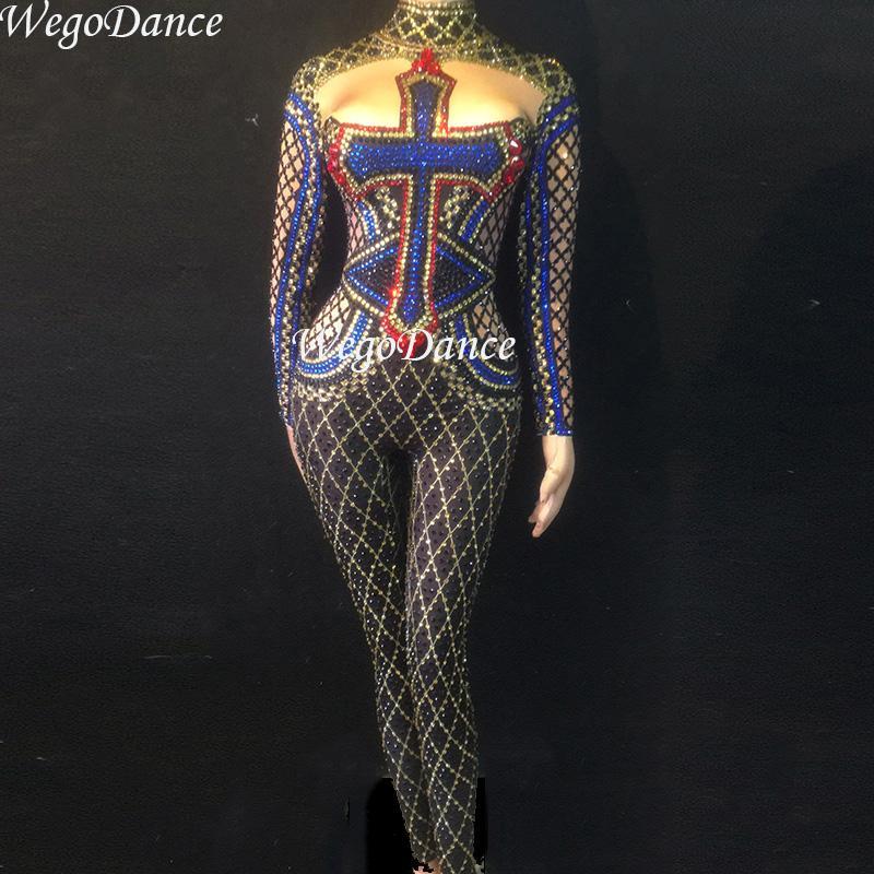 69eedf0a71a New Women Sexy Stage Big Rhinestones Jumpsuit Glisten Bodysuit Dance ...