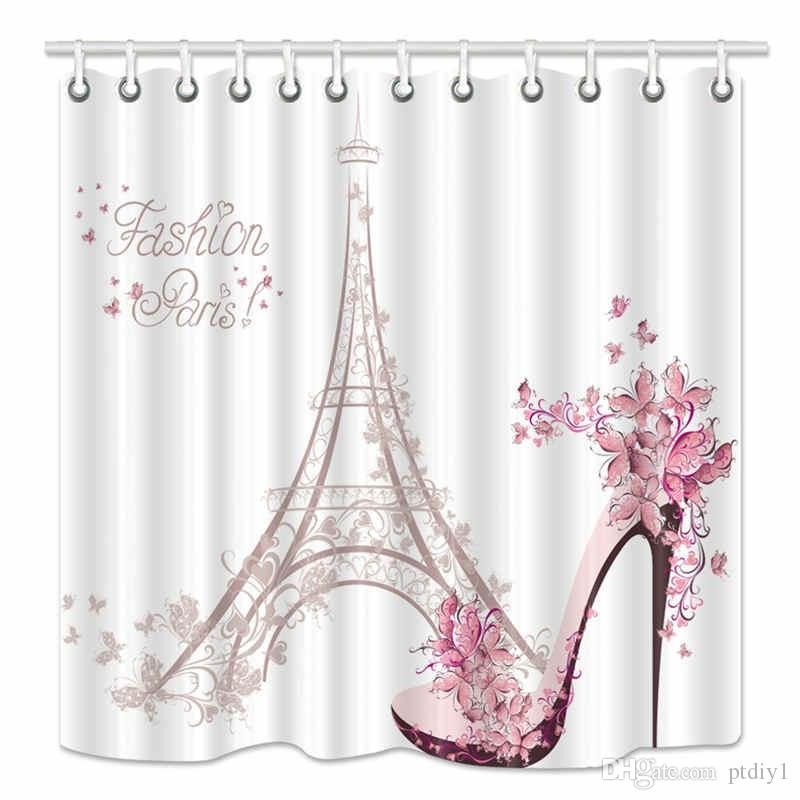 Eiffel Tower Shower Curtain, High Heeled Shoes and Flower in Paris, Mildew Resistant Fabric Bathroom Decorations, Bath Curtains Hooks Includ