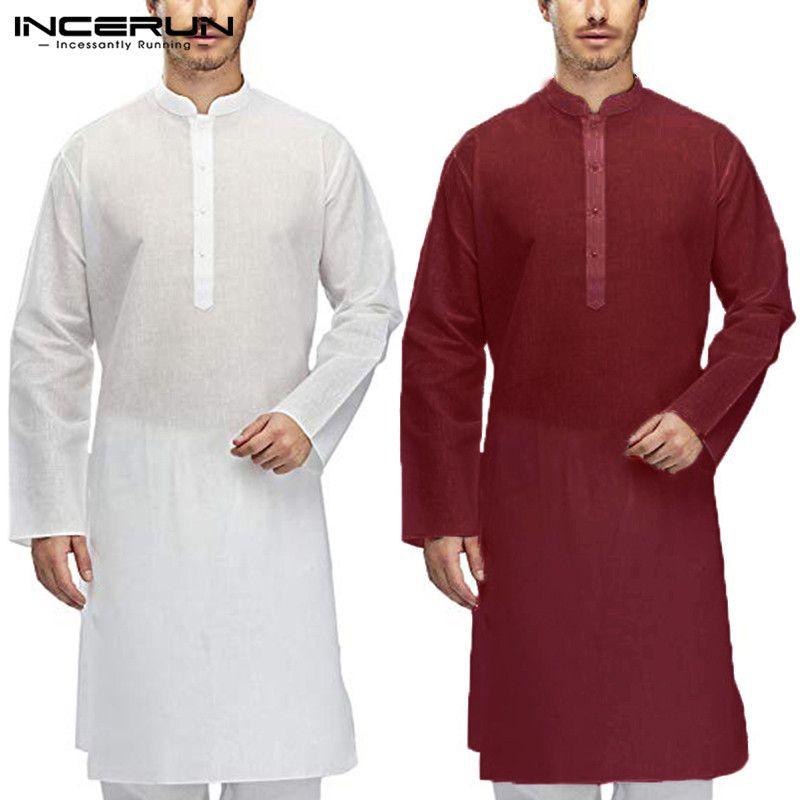 9fc14823f6 Compre Camisa Casual Para Hombres Traje Indio De Kurta Algodón Manga Larga  Cuello Alto Tops Hombres Ropa Musulmán Islámico Pakistán Camisas Largas  INCERUN A ...