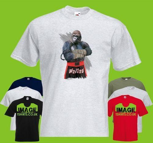 Gorilla Fighter Mens PRINTED T-SHIRT Sport MMA Fighter Fight Animal High  Quality Custom Printed Tops NEW