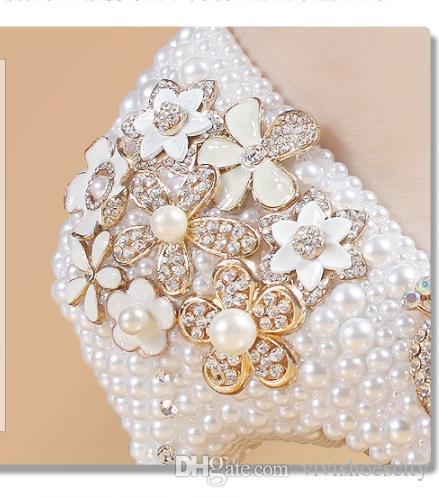 Più di formato 34 40 41 42 scarpe da sposa fiore Handmade Pearl Scarpe Donna nuziale scarpe di lusso di marca vengono con la scatola