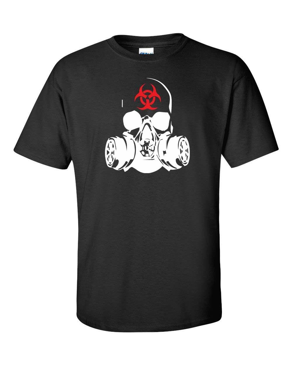 Zombie Gas Mask Bio Hazard Zombies Warfare Dead Men's Tee Shirt WHITE PRINT19 Cool Casual pride t shirt