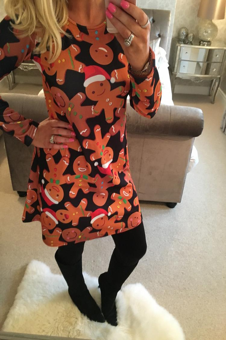 1cabbd8ca920 Christmas Snowman Gingerbread Man Print Dress 2019 New Fashion Sexy European  And American Women'S Adult Clothing B188 Sun Dresses Online Party Long  Dresses ...