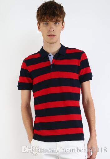 Descuento Hombres de la moda americana Camisas de polo a rayas Cuello de manga corta Hombre Casual Polos Camisa deportiva de negocios Rojo Negro Tamaño M-3XL