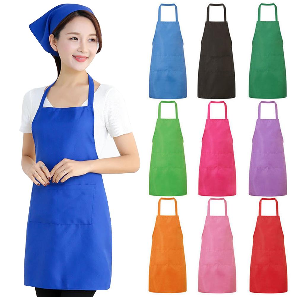 New 60*70cm 9 Color Kitchen Aprons High Quality Plain Cooking Apron Household Cleaning Dress Home Cooking Accessory Hot Sale