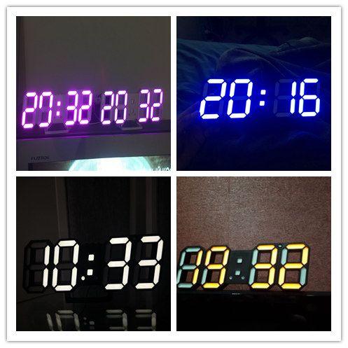 3d Led Wall Clock Modern Electronic Digital Alarm Clocks Home Office Table Desk Wall Clock 24 Or 12 Hour Display Night Lighting Home & Garden