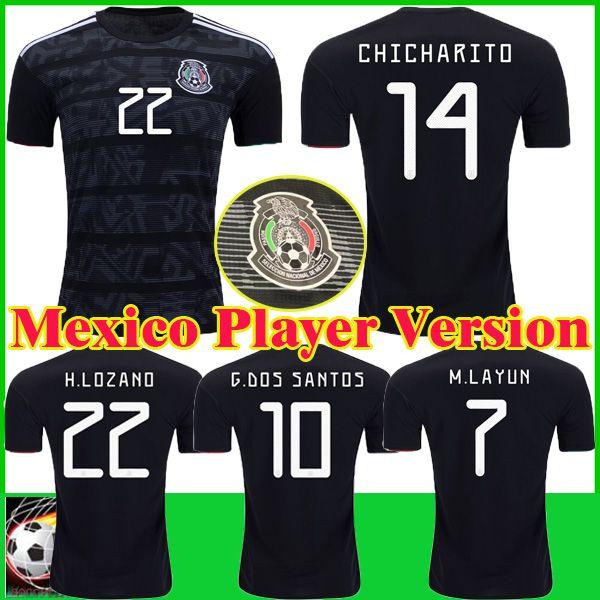 0e7afcd346a 2019 Player Version Mexico Gold Cup 2019 Soccer Jersey 19 20 Camisetas Mexico  CHICHARITO LOZANO MARQUEZ DOS SANTOS Soccer Shirt Camisa De Futbol From ...