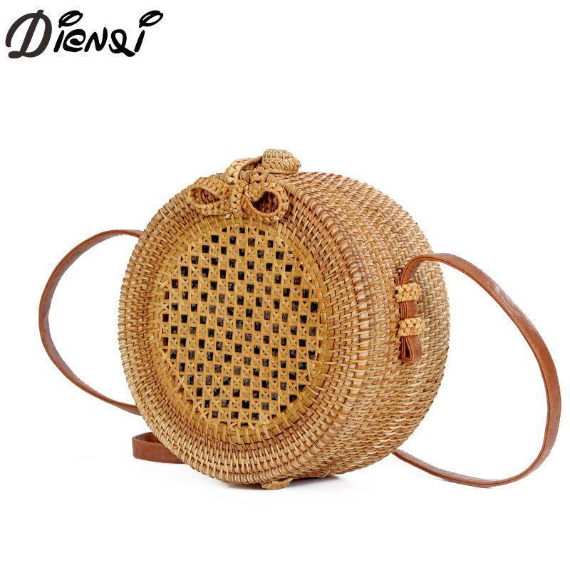 DIENQI Nice Round Straw Bags Women Summer Rattan Bag Handmade Woven Beach Cross Body Bag Circle Bohemia Hollow Out
