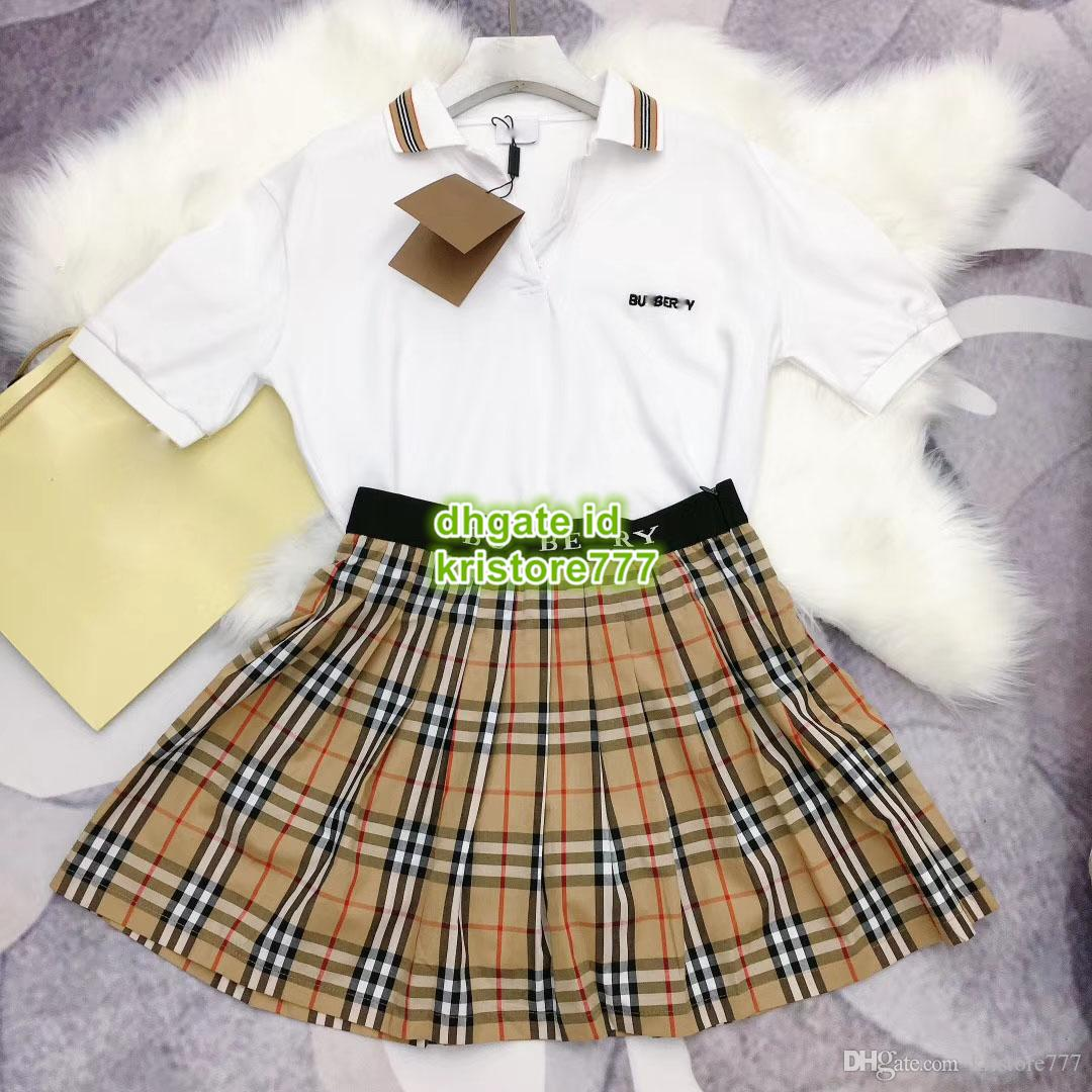 a7154935b6976 2019 Women Casual Two Piece Dress Women T Shirt With Embroidery Polo Tee+Pleated  Mini Plaid Skirt Casual Tracksuit Sets From Kristore777